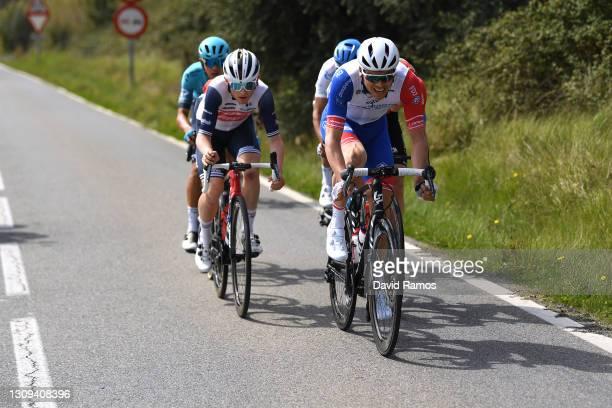 Mattias Skjelmose Jensen of Denmark and Team Trek - Segafredo & Antoine Duchesne of Canada and Team Groupama - FDJ during the 100th Volta Ciclista a...