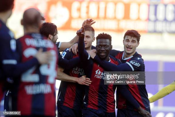 Mattias Svanberg of Bologna FC celebrates after scoring his team's second goal during the Serie A match between Bologna FC and Udinese Calcio at...