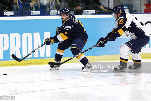 Mattias Tedenby and Rami Alanko fights for the puck during the IIHF Champions Hockey League match between HV 71 Joenkoeping and Espoo Blues on...