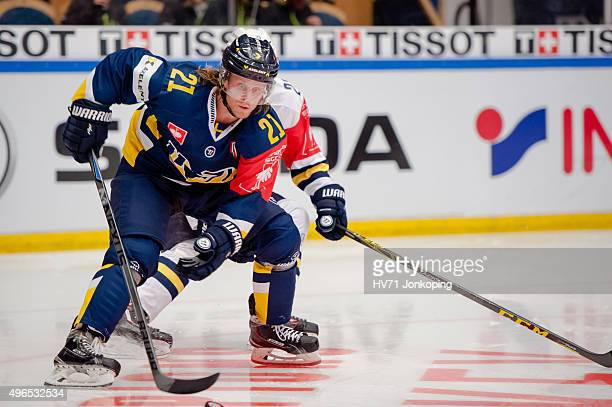 Mattias Tedenby of HV71during the Champions Hockey League round of eight game between HV71 Jonkoping and Espoo Blues on November 10, 2015 in...