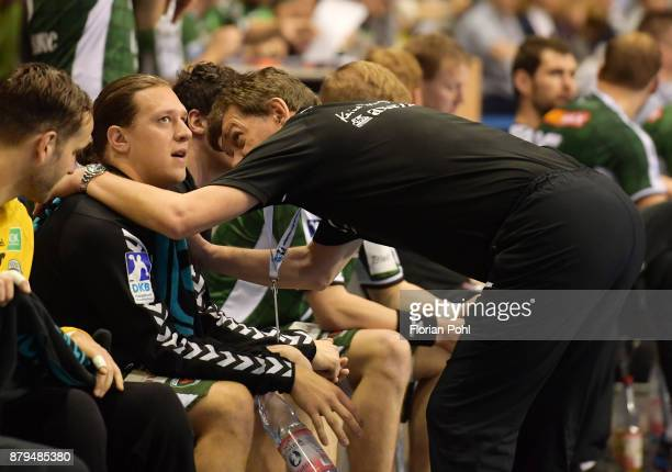 Mattias Zachrisson and coach Velimir Petkovic of Fuechse Berlin during the game between Fuechse Berlin and the HSG Wetzlar on November 26 2017 in...