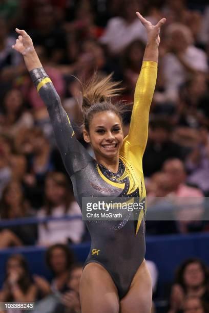 Mattie Larson celebrates at the end of her floor routine during the Senior Women's AllAround competition on day four of the 2010 Visa Gymnastics...