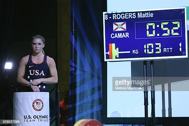 Mattie Rogers competes in the women's 63kg snatch weight class at the USA Olympic Team Trials for weightlifting at the Calvin L Rampton Convention...
