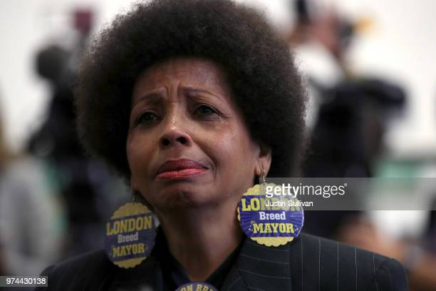 Mattie Scott wears London Breed for Mayor earrings during a news conference with San Francisco Mayorelect London Breed at Rosa Parks Elementary...