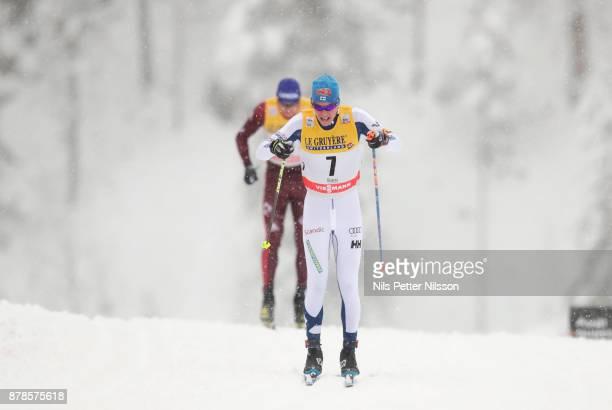 MattiHeikkinen of Finlandduring the cross country sprint qualification during the FIS World Cup Ruka Nordic season opening at Ruka Stadium on...