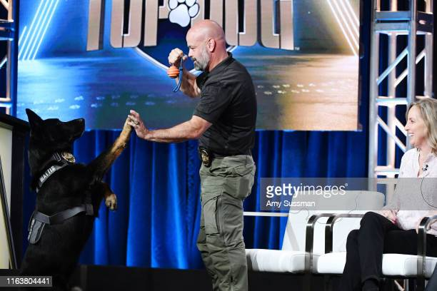 Mattis Sgt Mark Tappan and Holly Wofford attend the TCA panel for AE Network's America's Top Dog at The Beverly Hilton Hotel on July 23 2019 in...