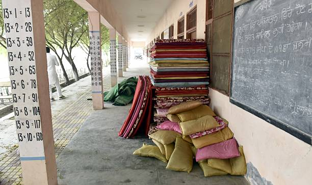 Mattress at Refugee Camps at Baba Sohan Singh Govt Sec School Bhakna Kalan for sheltering the villagers of border areas evacuated after surgical...