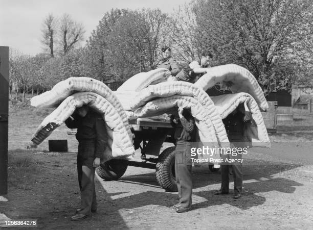 Mattresses being taken to one of two Royal Air Force stations - Uxbridge and West Drayton - which will accommodate over 2,000 Olympic visitors for...