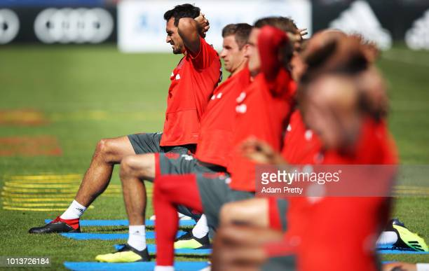 Matts Hummels of Bayern Munich in action during FC Bayern Muenchen pre season training on August 9, 2018 in Rottach-Egern, Germany.