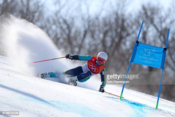 Matts Olsson of Sweden competes during the Alpine Skiing Men's Giant Slalom on day nine of the PyeongChang 2018 Winter Olympic Games at Yongpyong...
