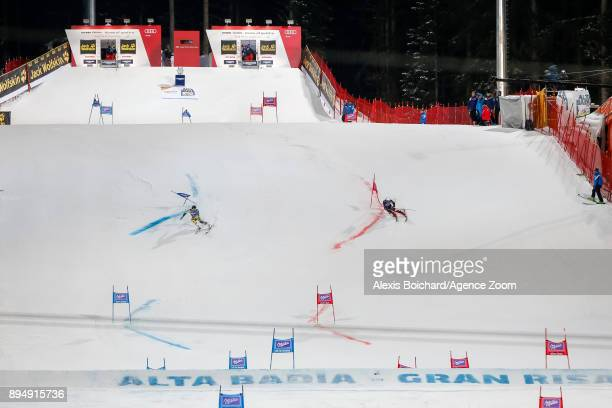 Matts Olsson of Sweden, Filip Zubcic of Croatia compete during the Audi FIS Alpine Ski World Cup Men's Parallel Giant Slalom on December 18, 2017 in...