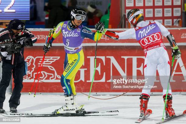 Matts Olsson of Sweden Marcel Hirscher of Austria compete during the Audi FIS Alpine Ski World Cup Men's Parallel Giant Slalom on December 18 2017 in...