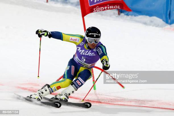 Matts Olsson of Sweden takes 1st place during the Audi FIS Alpine Ski World Cup Men's Parallel Giant Slalom on December 18, 2017 in Alta Badia, Italy.