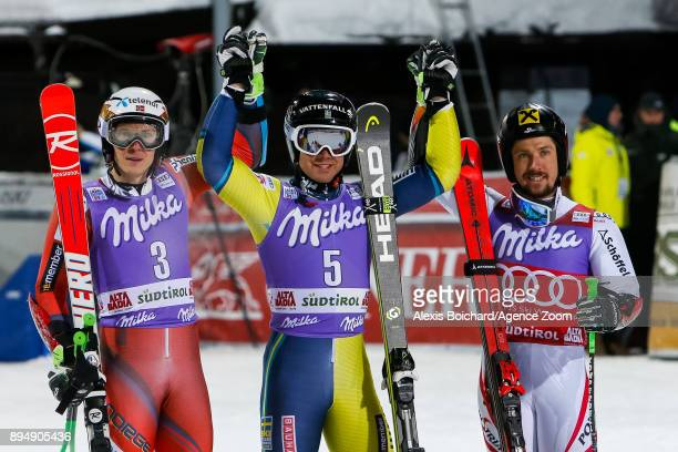 Matts Olsson of Sweden takes 1st place Henrik Kristoffersen of Norway takes 2nd place Marcel Hirscher of Austria takes 3rd place during the Audi FIS...