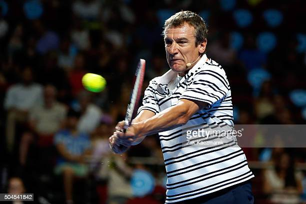 Matts Wilander plays a backhand during the FAST4Tennis exhibition match between Matt Wilander and Pat Cash at Allphones Arena on January 11 2016 in...