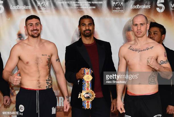 Matty Askin and Stephen Simmons attend the Hayemaker Ringstar Weigh In at The Park Plaza Victoria on March 16 2018 in London England The Double...
