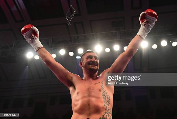 Matty Askin celebrates after beating Stephen Simmons during their British Crusierweight Title fight at York Hall on March 17, 2018 in London, England.