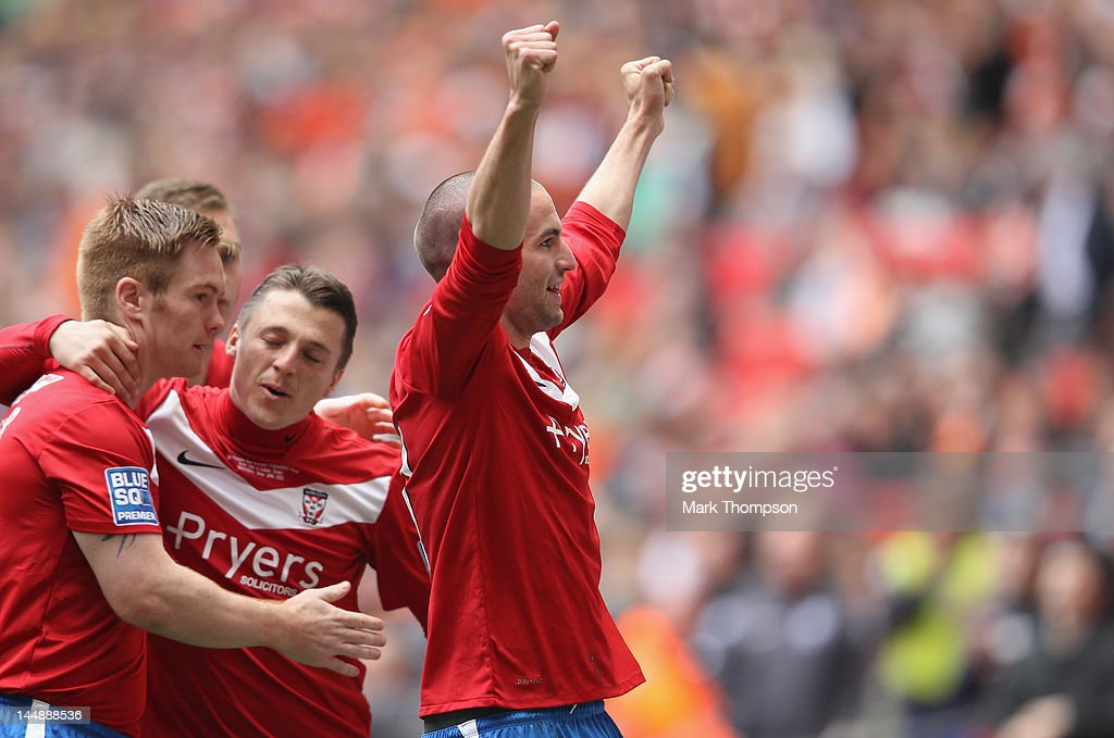 Matty Blair of York City celebrates his goal during the Blue Square Bet Premier League Play Off Final between Luton Town and York City, at Wembley Stadium on May 20, 2012 in London, England.