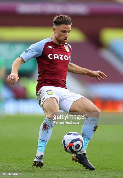 Matty Cash of Aston Villa on the ball during the Premier League match between Aston Villa and Fulham at Villa Park on April 04, 2021 in Birmingham,...
