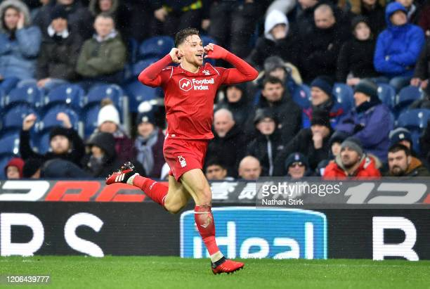 Matty Cash of Nottingham Forest celebrates after scoring his team's second goal during the Sky Bet Championship match between West Bromwich Albion...
