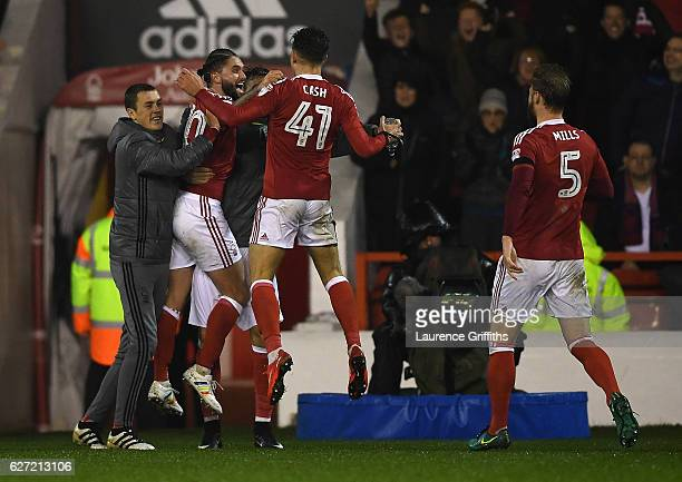 Matty Cash of Nottingham Forest celebrates the team's second goal during the Sky Bet Championship match between Nottingham Forest and Newcastle...