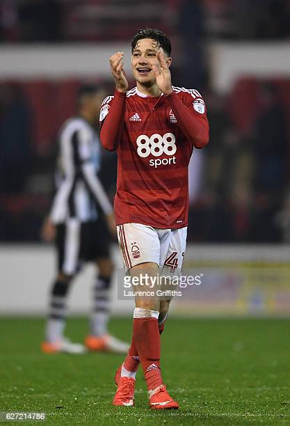 Matty Cash of Nottingham Forest celebrates victory on the final whistle during the Sky Bet Championship match between Nottingham Forest and Newcastle...