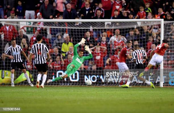 Matty Cash of Nottingham Forest scores his team's second goal during the Carabao Cup Second Round match between Nottingham Forest and Newcastle...