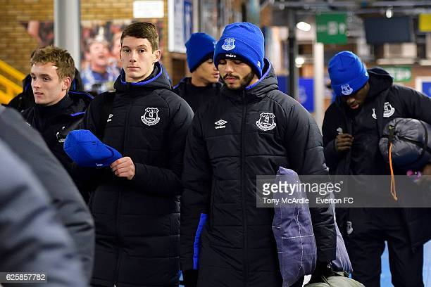 Matty Foulds Delial Brewster and Michael Donohue arrives for the Everton in the Community Sleepover Event at Goodison Park on November 25 2016 in...