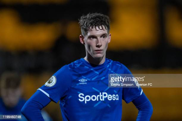 Matty Foulds of Everton during the Premier League 2 match between Everton and Arsenal at Pure Stadium on January 13 2020 in Southport England