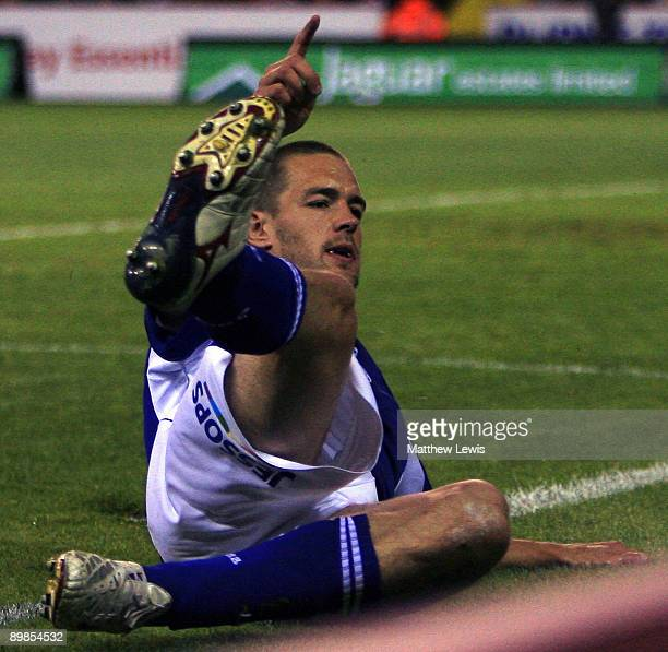 Matty Fryatt of Leicester celebrates his goal during the CocaCola Championship match between Sheffield United and Leicester City at Bramall Lane on...