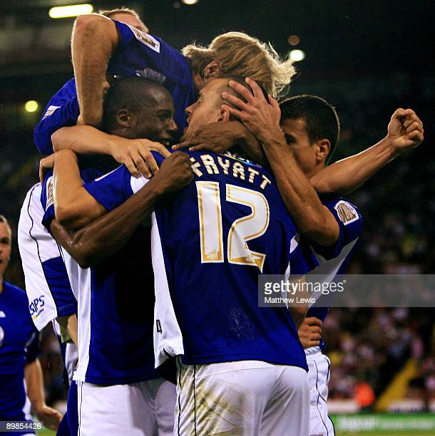 Matty Fryatt of Leicester is congratulated on his goal during the CocaCola Championship match between Sheffield United and Leicester City at Bramall...