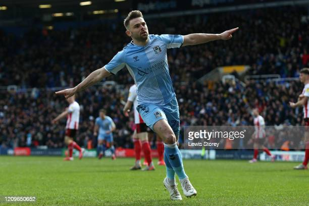 Matty Godden of Coventry City celebrates scoring his sides first goal during the Sky Bet League One match between Coventry City and Sunderland at St...