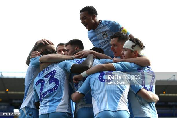 Matty Godden of Coventry City celebrates with team-mates after scoring his sides first goal during the Sky Bet League One match between Coventry City...