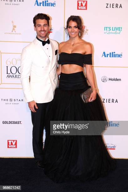 Matty J and Laura Byrne arrive at the 60th Annual Logie Awards at The Star Gold Coast on July 1 2018 in Gold Coast Australia