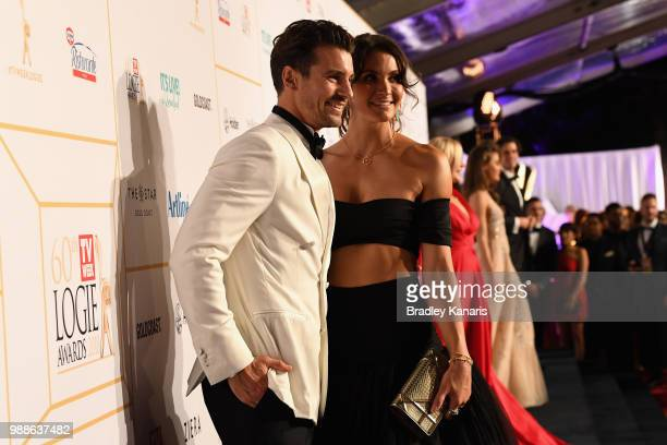 Matty J and Laura Byrne arrives at the 60th Annual Logie Awards at The Star Gold Coast on July 1 2018 in Gold Coast Australia