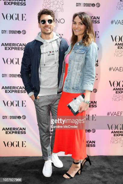 Matty J and Laura Byrne during Vogue American Express Fashion's Night Out on September 6, 2018 in Sydney, Australia.