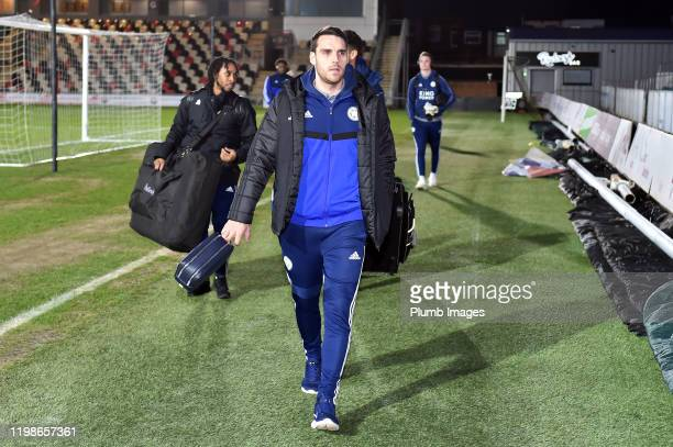 Matty James of Leicester City arrives before the Leasingcom quarter final match between Newport County and Leicester City U21 at Rodney Parade on...
