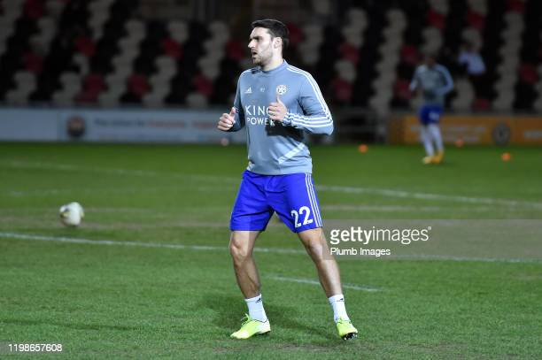 Matty James of Leicester City before the Leasingcom quarter final match between Newport County and Leicester City U21 at Rodney Parade on February 04...