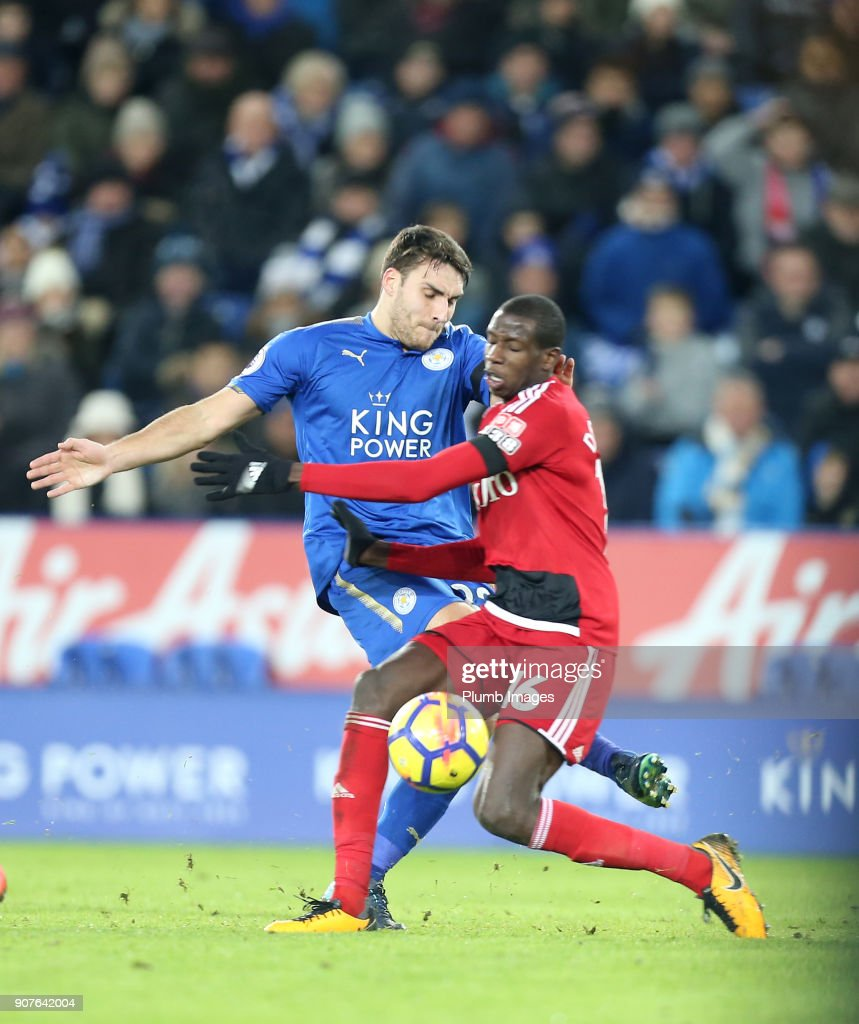 Matty James of Leicester City in action with Abdoulaye Doucoure of Watford during the Premier League match between Leicester City and Watford at King Power Stadium on January 20th , 2018 in Leicester, United Kingdom.