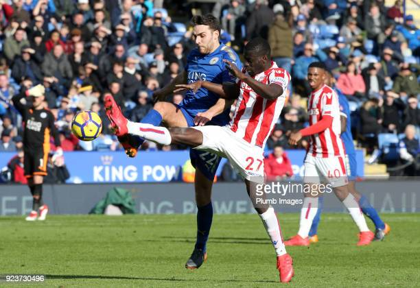 Matty James of Leicester City in action with Badou Ndiaye of Stoke City during the Premier League match between Leicester City and Stoke City at King...