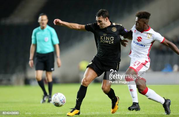 Matty James of Leicester City in action with Brandon ThomasAsante of MK Dons during the pre season friendly between MK Dons and Leicester City on...