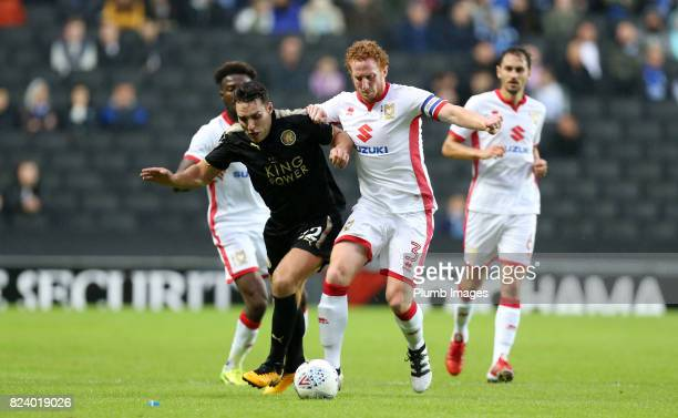 Matty James of Leicester City in action with Dean Lewington of MK Dons during the pre season friendly between MK Dons and Leicester City on July 28th...