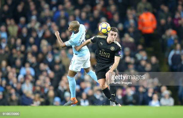 Matty James of Leicester City in action with Fernandinho of Manchester City during the Premier League match between Manchester City and Leicester...