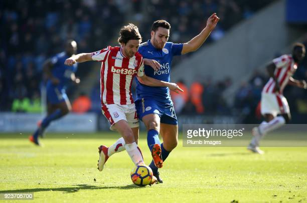 Matty James of Leicester City in action with Joe Allen of Stoke City during the Premier League match between Leicester City and Stoke City at King...