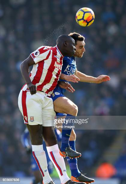 Matty James of Leicester City in action with Kurt Zouma of Stoke City during the Premier League match between Leicester City and Stoke City at King...