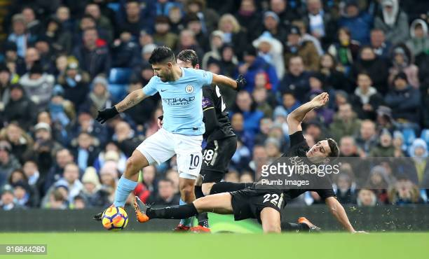 Matty James of Leicester City in action with Sergio Aguero of Manchester City during the Premier League match between Manchester City and Leicester...