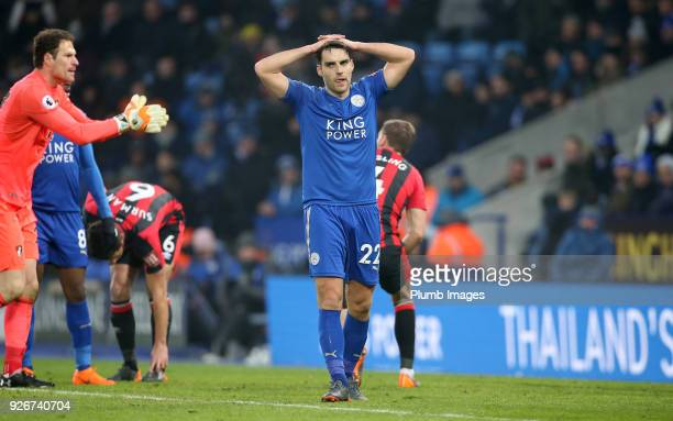 Matty James of Leicester City looks frustrated during the Premier League match between Leicester City and Bournemouth at King Power Stadium on March...