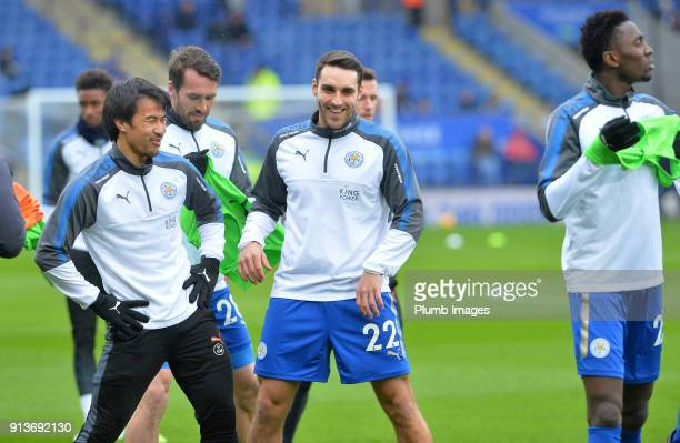 Matty James of Leicester City warms up at King Power Stadium ahead of the Premier League match between Leicester City and Swansea City at King Power...
