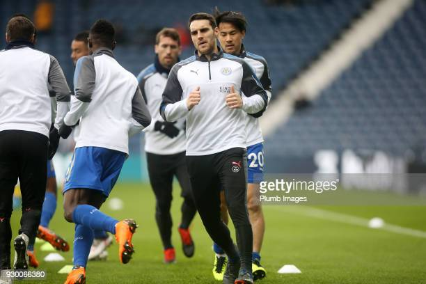Matty James of Leicester City warms up at The Hawthorns ahead of the Premier League match between West Bromwich Albion and Leicester City at The...