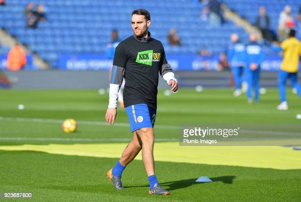Matty James of Leicester City wears a Kick it out t shirt during the warm up at King Power Stadium ahead of the Premier League match between...